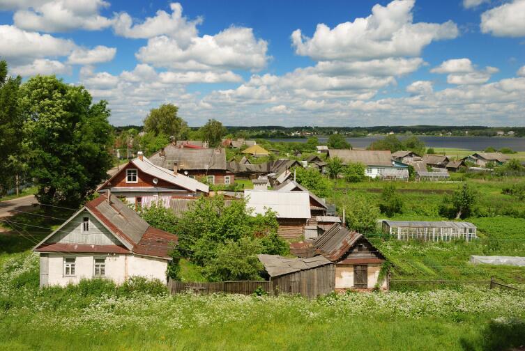 Панорама окраин Торопца с валов городища