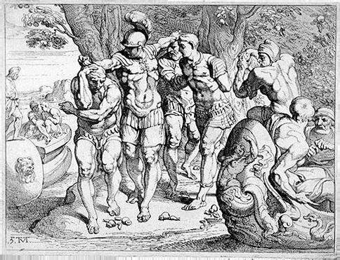 Одиссей уводит своих людей от компании лотофагов. Гравюра XVIII dtrf
