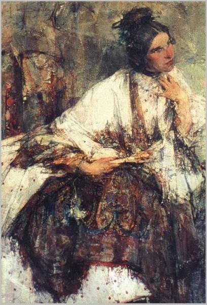 Н. И. Фешин, «Портрет Н. М. Сапожникова (в шали)», 1908 г.