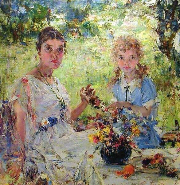Н. И. Фешин, «Лето (Портрет А. Н. Фешиной с дочерью Ией)», 1924 г.
