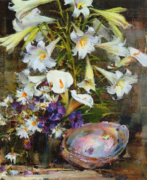 Н. И. Фешин, «Лилии с раковиной», 1955 г.
