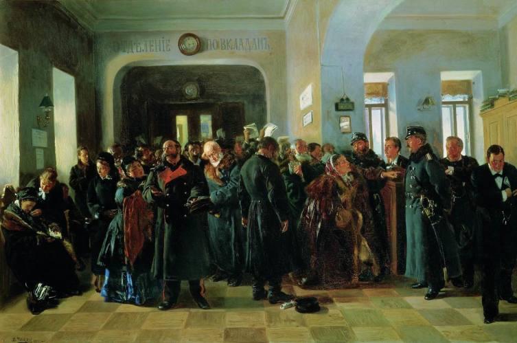 В. Е. Маковский, «Крах банка», 1881 г.