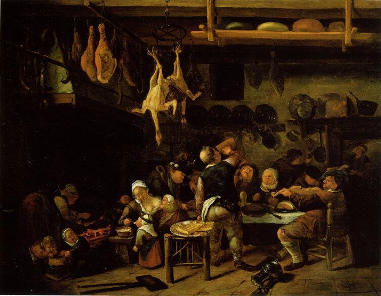 Ян Стен, «На зажиточной крестьянской кухне», 1650 г.