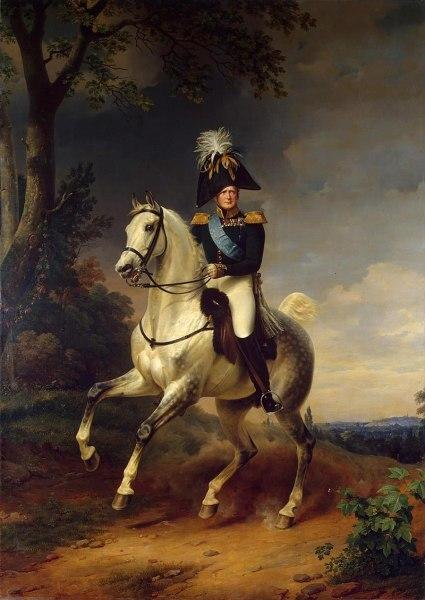 Александр I в 1814 году под Парижем, в лосинах