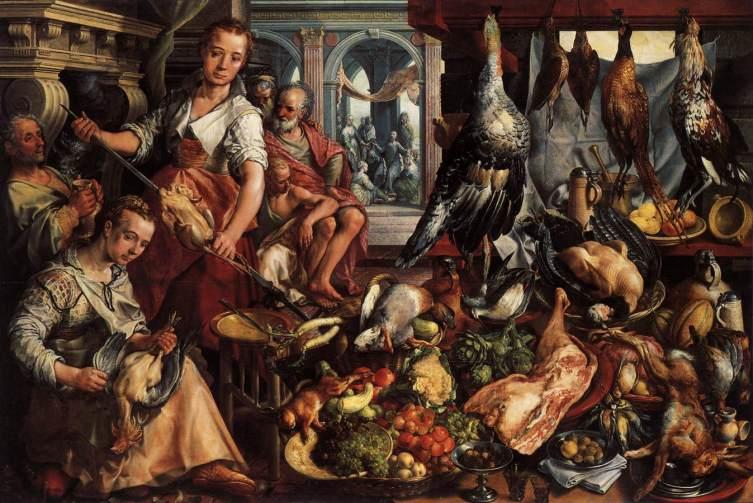 Иоахим Бейкелар, «Кухня, с Христом, Марфой и Марией на заднем плане», 1566 г.