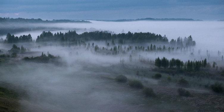 Виды и пейзажи изборской долины. Вечерний туман