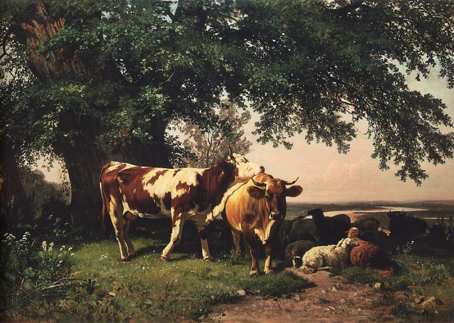 И. И. Шишкин, «Стадо под деревьями», 1864 г.