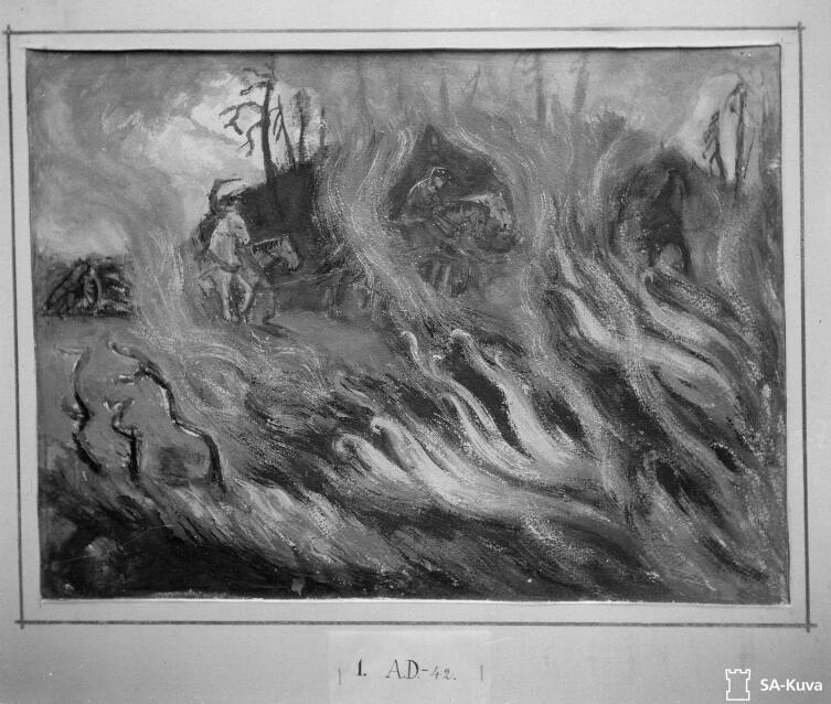 Картина сержанта Саркамы «Сквозь огонь и дым из местности Омеля». Рукайярви, Онтросенваара, май 1942г.