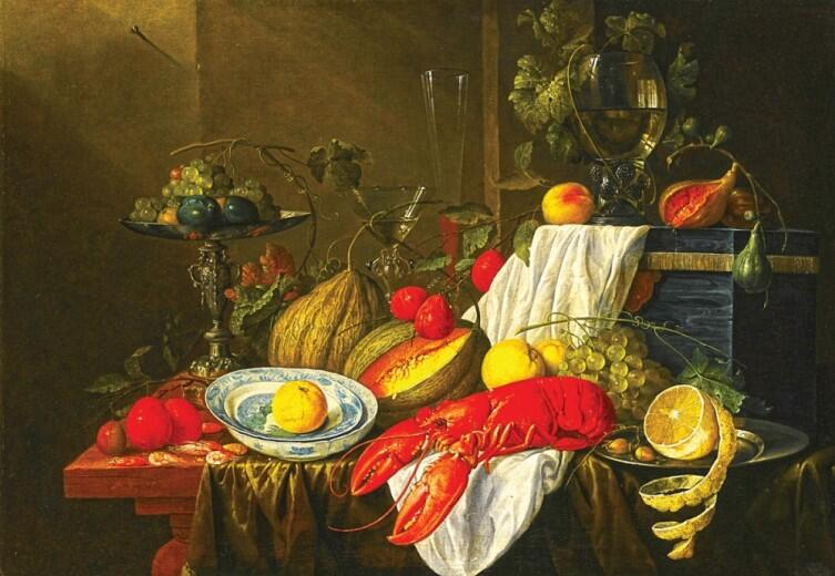 Я. Д. де Хем, «Натюрморт с омаром»