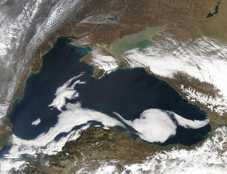 Космический снимок Чёрного моря со спутника НАСА Aqua