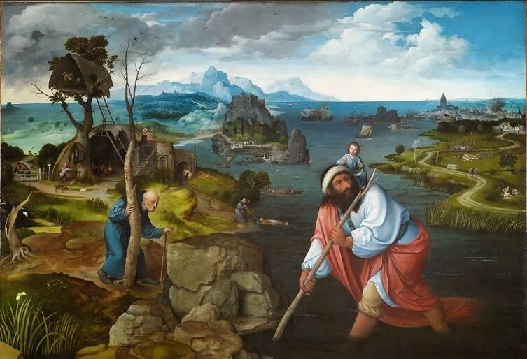 Иоахим Патинир, «Святой Христофор», ок. 1520 г., Эскориал