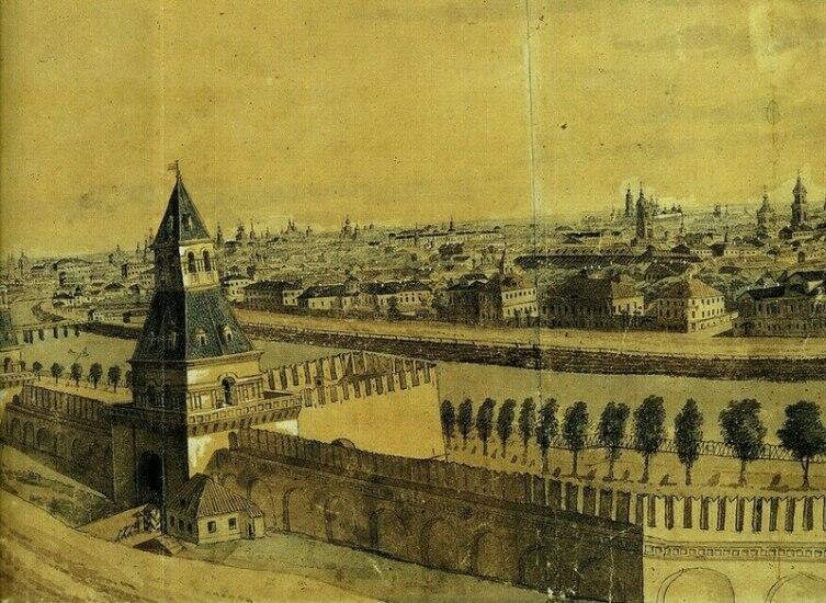 Тайницкая башня Московского Кремля в 1807 г.