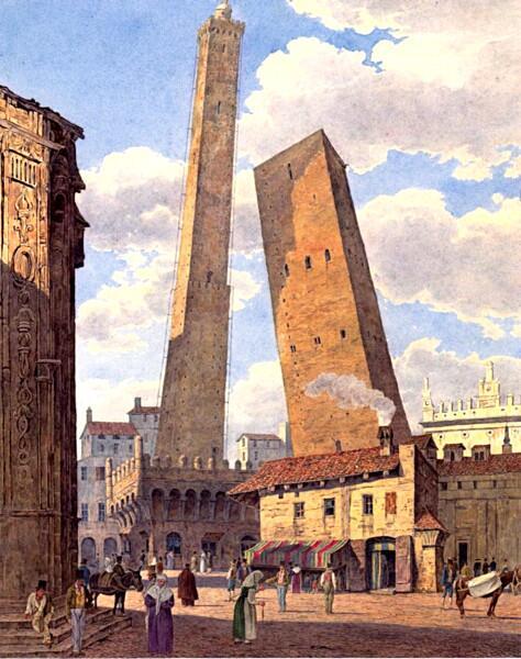 Две самых знаменитых болонских башни, Азинелли и Гаризенда. Акварель Якоба Альта