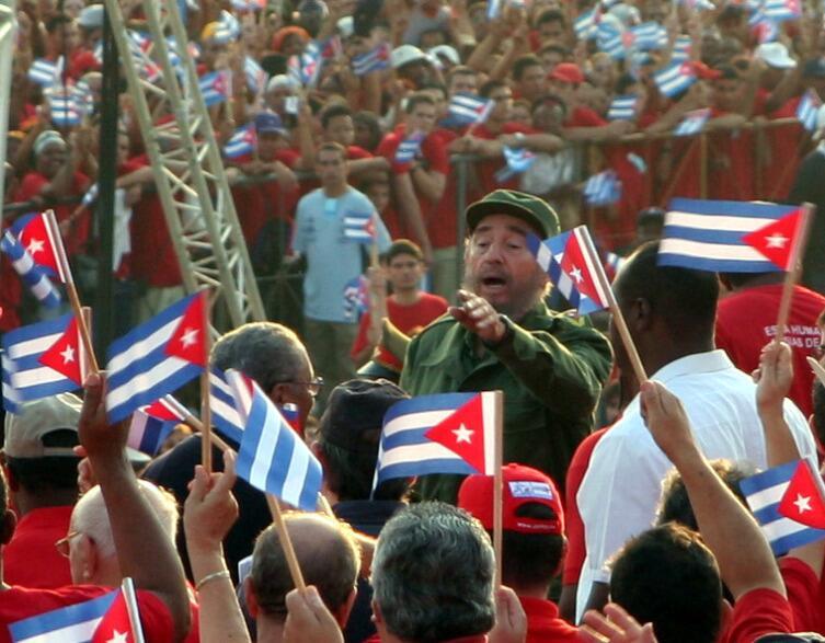 Ф. Кастро на первомайской демонстрации в Гаване