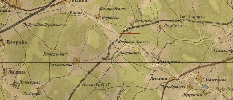 На карте отмечено расположение усадьбы Осоргино