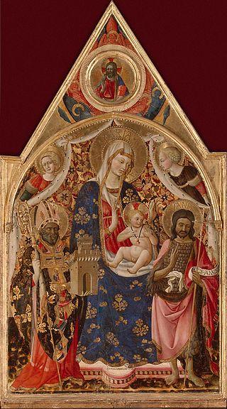 Антонио ди Фиренце, «Мадонна с Младенцем, святым епископом, Иоанном Крестителем и ангелами»