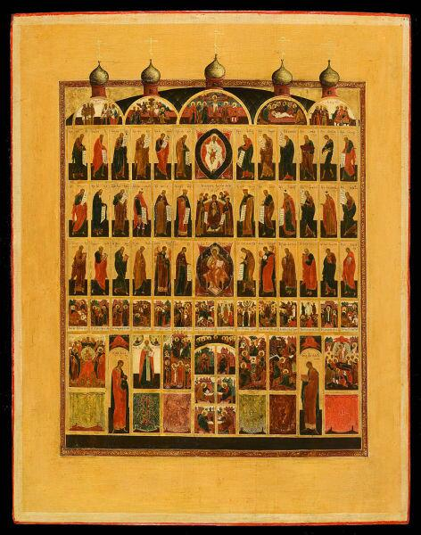 Икона XIX века, изображающая церковь с шестиярусным иконостасом