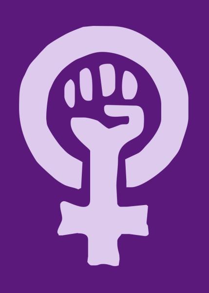 Символ феминистского движения — сжатый кулак (символ борьбы и сопротивления), заключённый в зеркало Венеры (символ женщины). Лиловый цвет фона — традиционный цвет феминизма