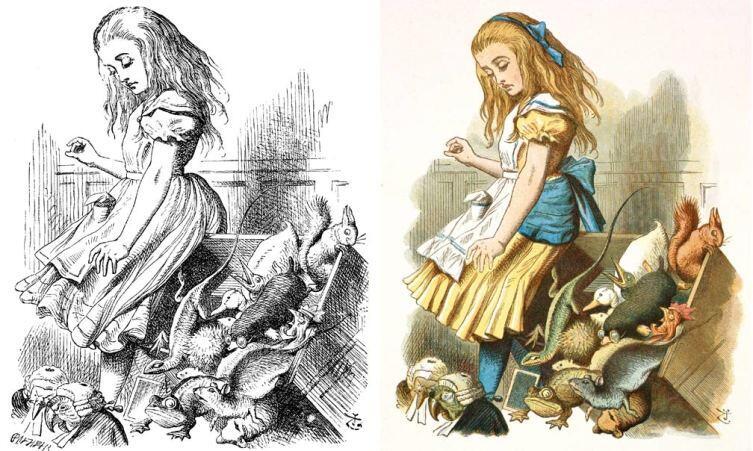 Чёрно-белая и цветная версии рисунка Джона Тенниела к«Алисе в Стране чудес»