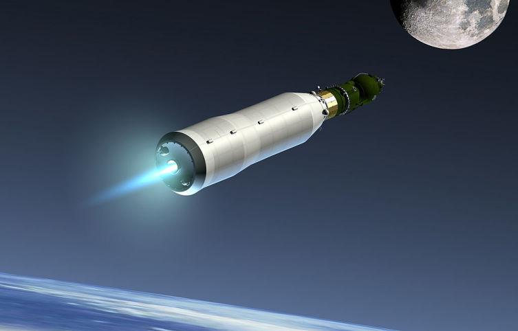 Полёт к Луне экспедиционного корабля-комплекса Л3 в представлении художника