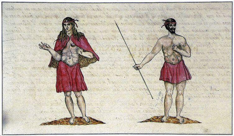Гуанчи с острова Гомера. Рисунок из «Описания и истории отдаленного королевства Канарского» Леонардо Торриани, 1592 г.