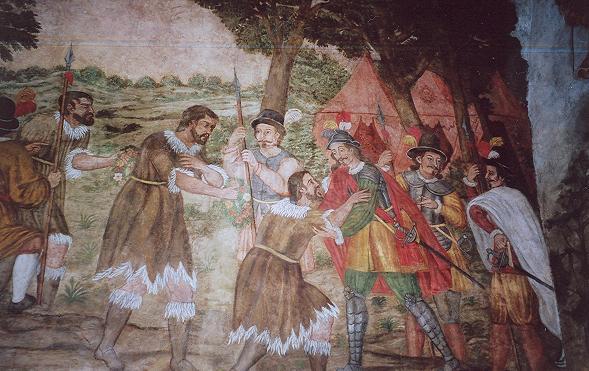 Встреча гуанчей с конкистадором Фернандесом де Луго. Фреска из здания аюнтамьенто Сан-Кристобаль-де-ла-Лагуна, Тенерифе