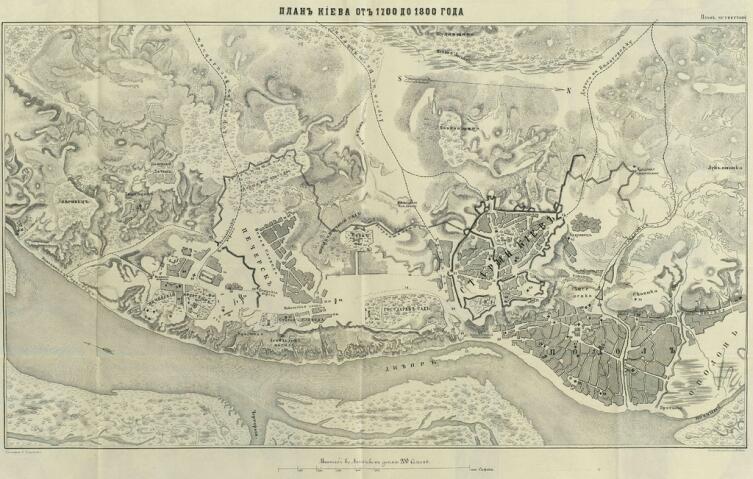 План Киева от 1700 до 1800 гг.