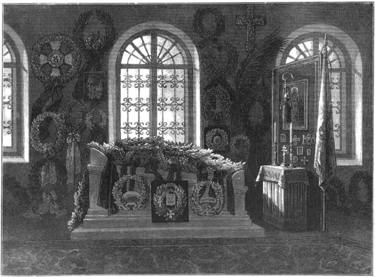 Гробница М. Д. Скобелева в церкви Спасского села. Рисунок К. О. Брожа по фотографиям фотографа-любителя