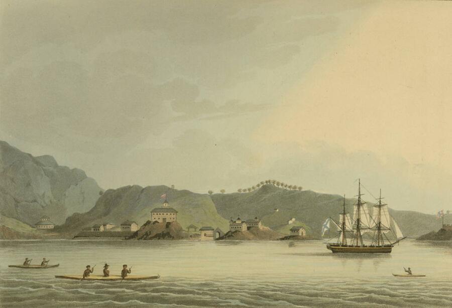Шлюп «Нева» в гавани святого Павла на острове Кадьяк. Гравюра по рисунку Ю. Ф. Лисянского