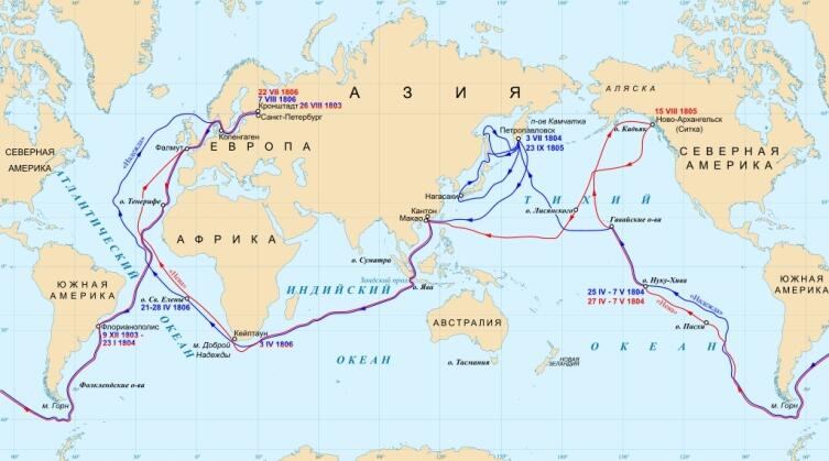 Синим обозначен маршрут «Надежды», красным — «Невы»