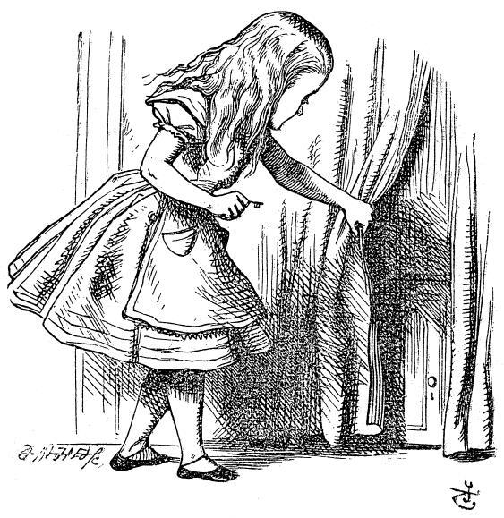 Алиса приоткрывает штору