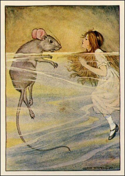 Алиса и Мышь в Море слёз. Иллюстрация Мило Уинтер