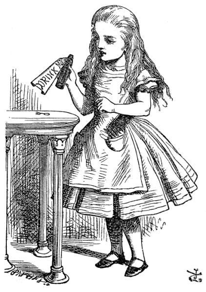Рисунок Тенниела № 4. Алиса с бутылочкой «Выпей меня»