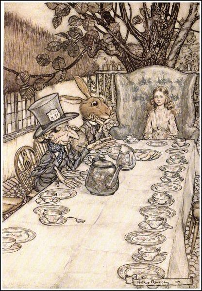 Безумное чаепитие: Болванщик, Соня, Мартовский заяц и Алиса. Иллюстрация Артура Рэкхэма