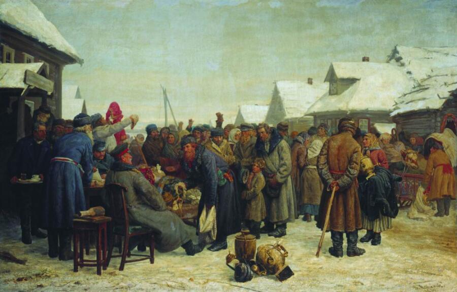 В. Максимов, «Аукцион за недоимки», 1880-1881 гг.