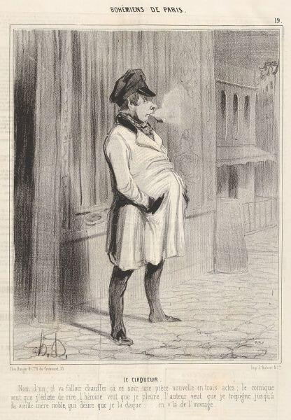 Оноре Домье, «Клакёр», гравюра из цикла «Парижская богема», 1842 г.