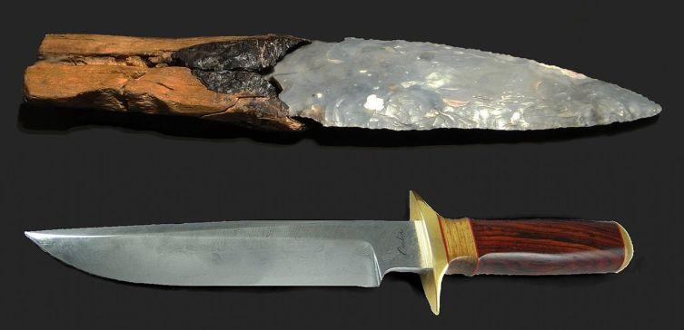 Кремнёвый нож (2600 лет до н. э.) и современный