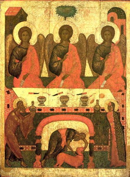 Икона Святой Троицы. На столе перед ипостасями ножи типа пуукко. Псков, XVI век