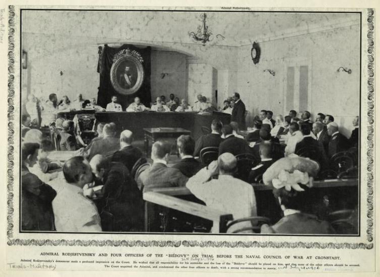 Адмирал Рожественский на процессе, 21 июля 1906 г.
