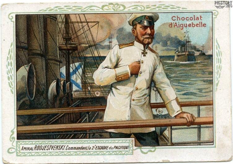 Адмирал Зиновий Петрович Рожественский на вкладыше Chocolat d'Aiugebelle, Франция, 1905 г.