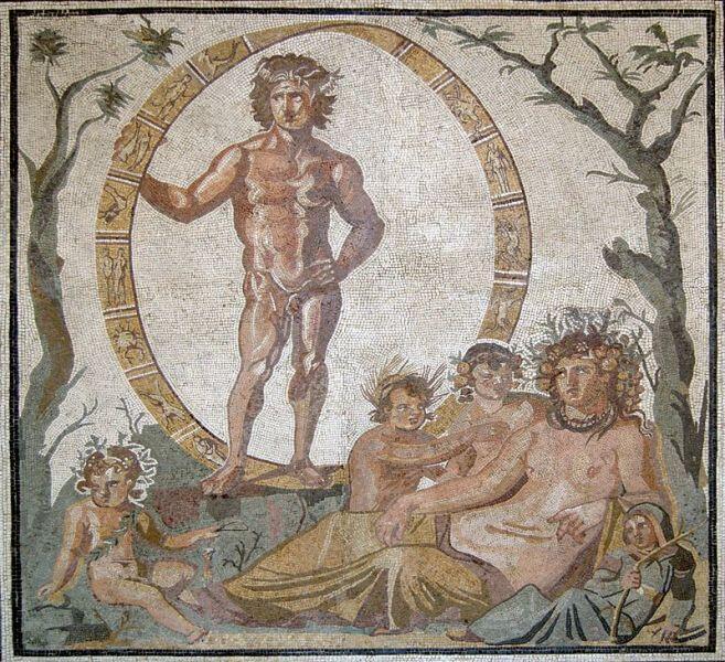 Римская мозаика III века нашей эры с изображением кольца, свернутого как лента Мёбиуса, мюнхенская Глиптотека