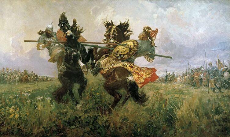 «Поединок Пересвета с Челубеем на Куликовом поле», художник М. Авилов, 1943 г.