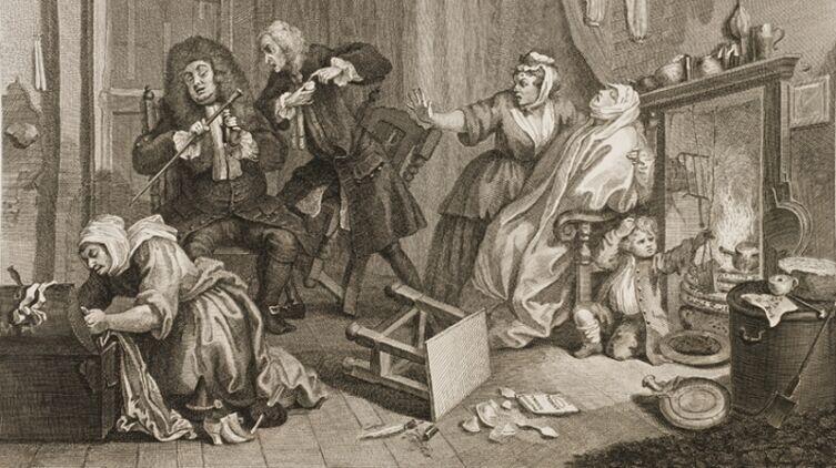 Гравюра Хогарта «Умирает, пока доктора спорят» из цикла «Карьера проститутки», на которой изображена умирающая от сифилиса женщина