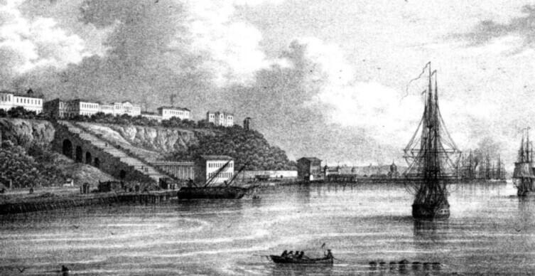 1850-е годы. Одесский порт и лестница. Хорошо видно, как она была построена