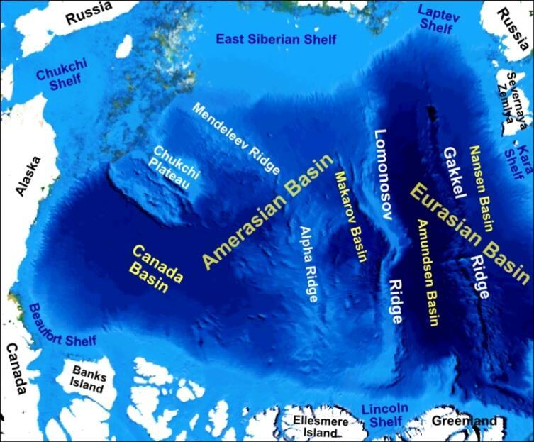 Хребет Ломоносова на карте