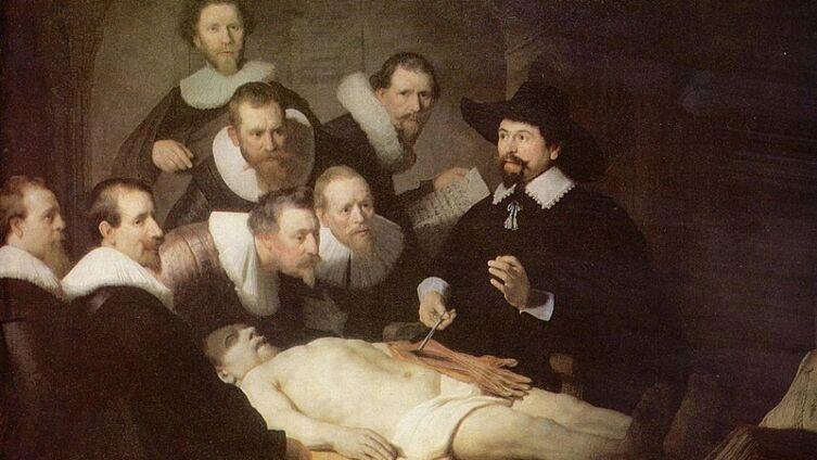Николас Тульп исследует лимфатическую систему недавно повешенного преступника. Рембрандт, «Урок анатомии доктора Тульпа»