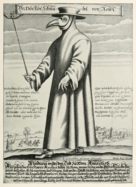 «Доктор Клюв Рима» - костюм врача, лечившего от чумы. гравюра Поля Фюрста, 1656 г.
