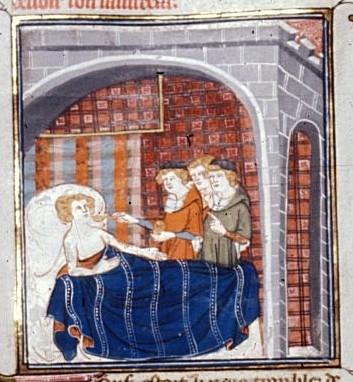 Больной король Франции Людовик VI в окружении врачей, 1332—1350 гг.