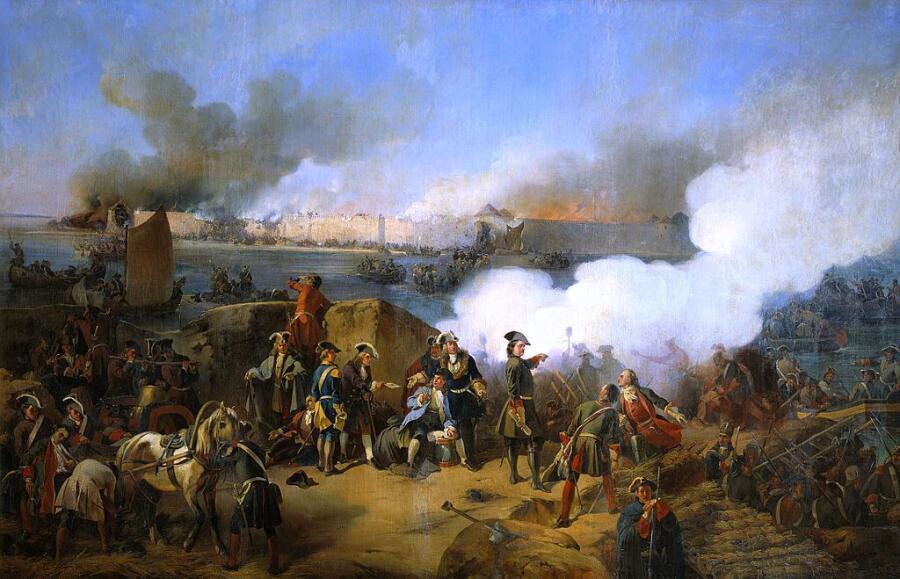 Штурм крепости Нотебург 11 (22) октября 1702 г. В центре изображён Пётр I, худ. А. Е. Коцебу, 1846 г.