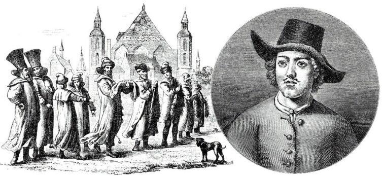 Великое посольство по гравюре современника. Портрет Петра I в одежде голландского матроса